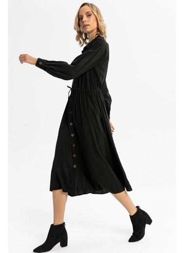 Tiffany&Tomato Beli Büzgülü Uzun Gömlek Elbise-Tarçın Siyah